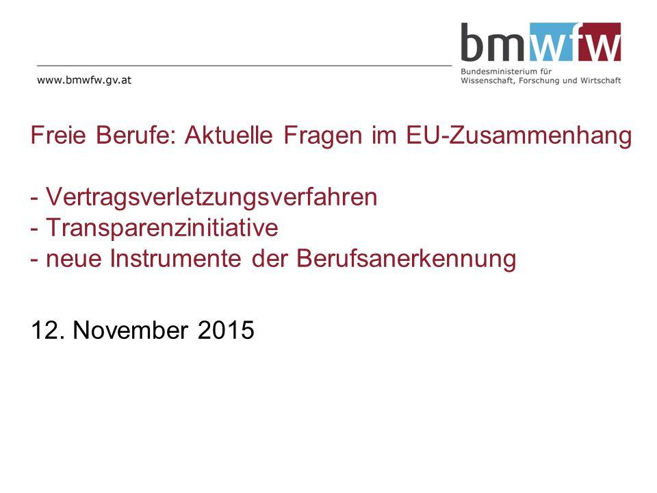 Freie Berufe: Aktuelle Fragen im EU-Zusammenhang - Vertragsverletzungsverfahren - Transparenzinitiative - neue Instrumente der Berufsanerkennung 12.