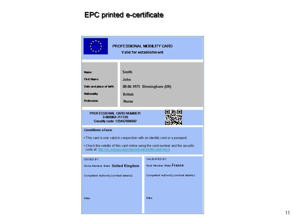 11 EPC printed e-certificate