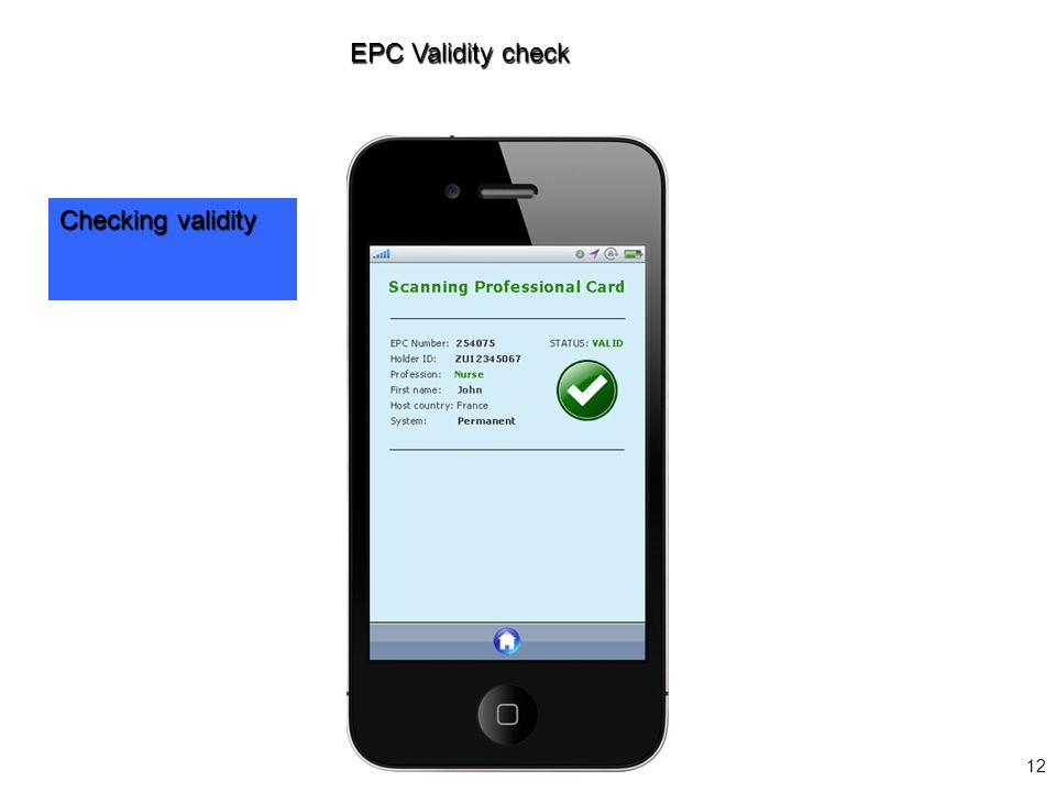12 EPC Validity check Checking validity