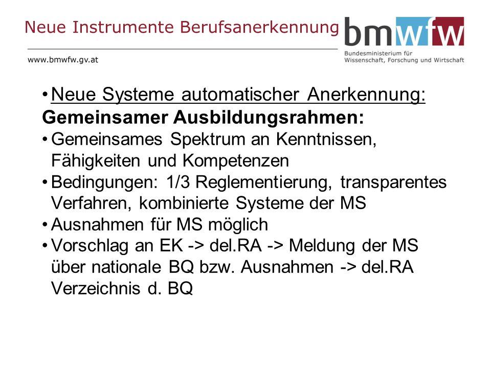 Neue Instrumente Berufsanerkennung Neue Systeme automatischer Anerkennung: Gemeinsamer Ausbildungsrahmen: Gemeinsames Spektrum an Kenntnissen, Fähigkeiten und Kompetenzen Bedingungen: 1/3 Reglementierung, transparentes Verfahren, kombinierte Systeme der MS Ausnahmen für MS möglich Vorschlag an EK -> del.RA -> Meldung der MS über nationale BQ bzw.