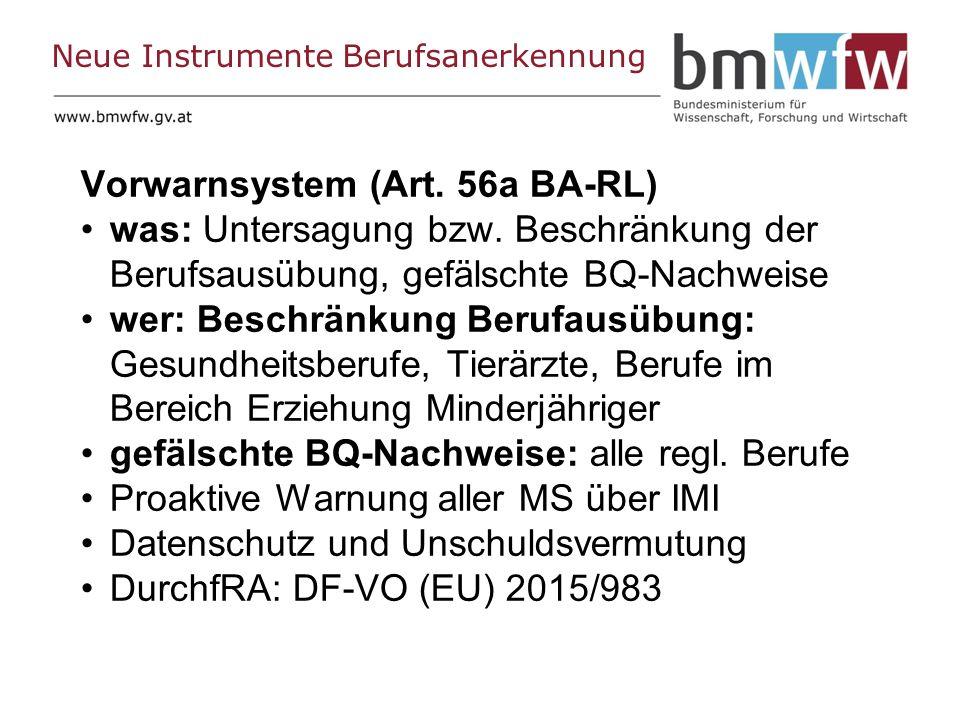 Neue Instrumente Berufsanerkennung Vorwarnsystem (Art.