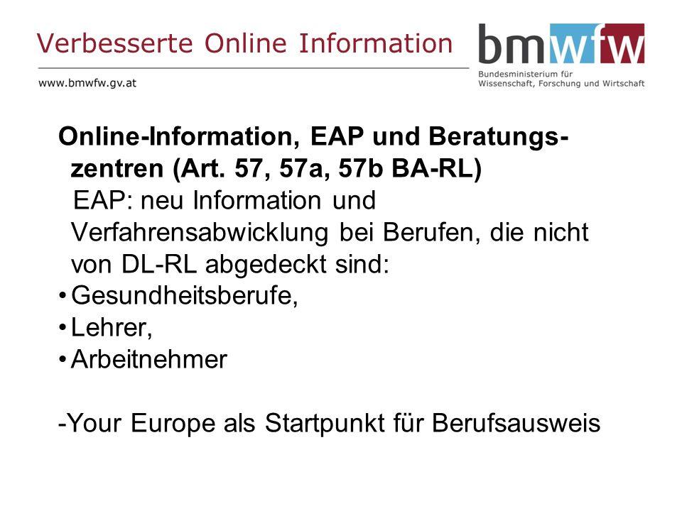 Verbesserte Online Information Online-Information, EAP und Beratungs- zentren (Art.