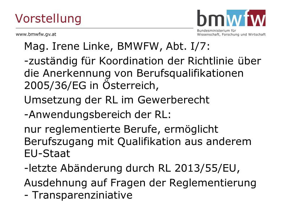 Vorstellung Mag. Irene Linke, BMWFW, Abt.