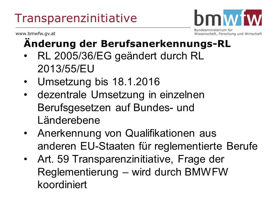Transparenzinitiative Änderung der Berufsanerkennungs-RL RL 2005/36/EG geändert durch RL 2013/55/EU Umsetzung bis 18.1.2016 dezentrale Umsetzung in einzelnen Berufsgesetzen auf Bundes- und Länderebene Anerkennung von Qualifikationen aus anderen EU-Staaten für reglementierte Berufe Art.