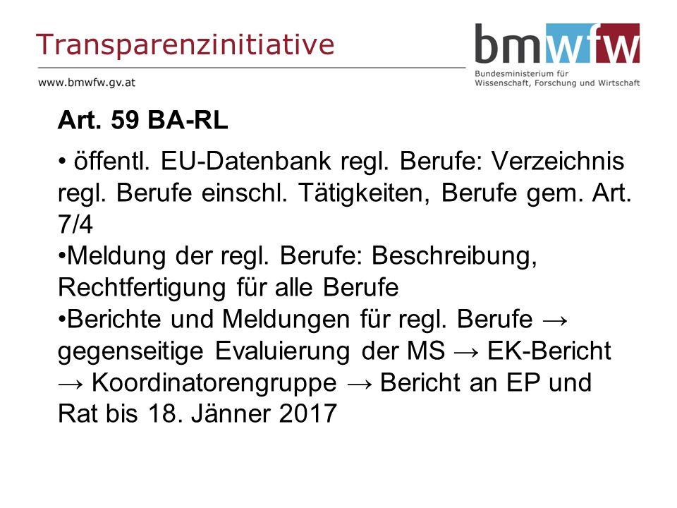 Transparenzinitiative Art. 59 BA-RL öffentl. EU-Datenbank regl.