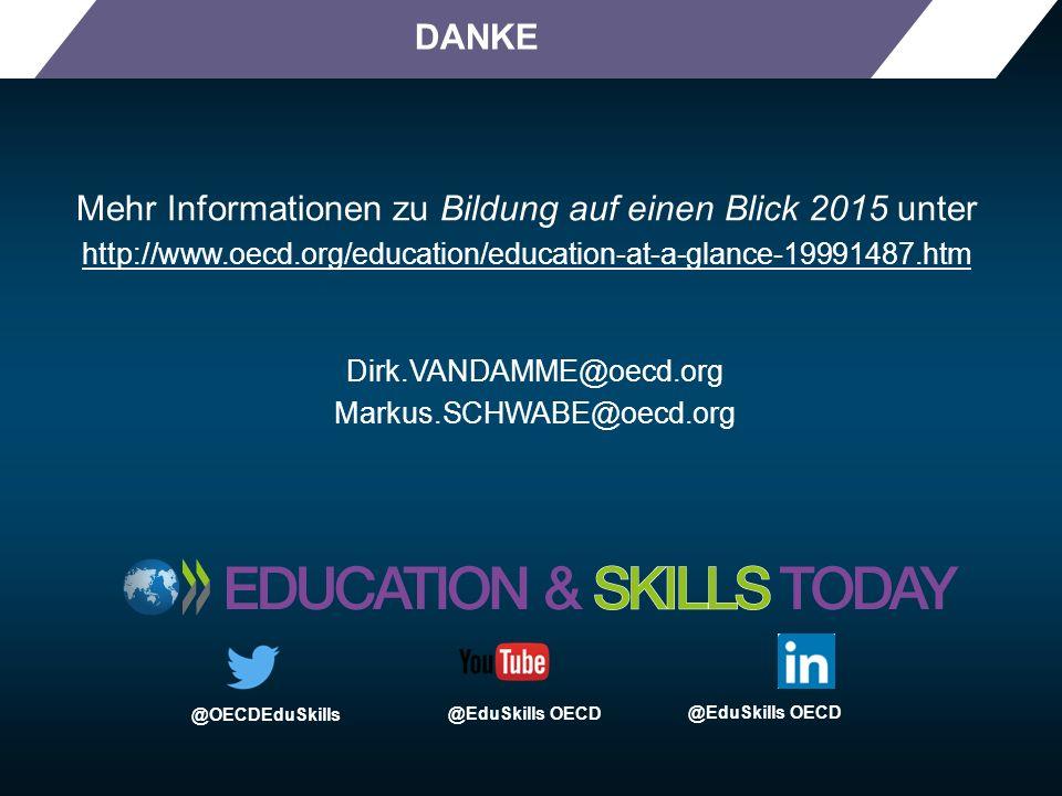 DANKE Mehr Informationen zu Bildung auf einen Blick 2015 unter http://www.oecd.org/education/education-at-a-glance-19991487.htm @OECDEduSkills @EduSki