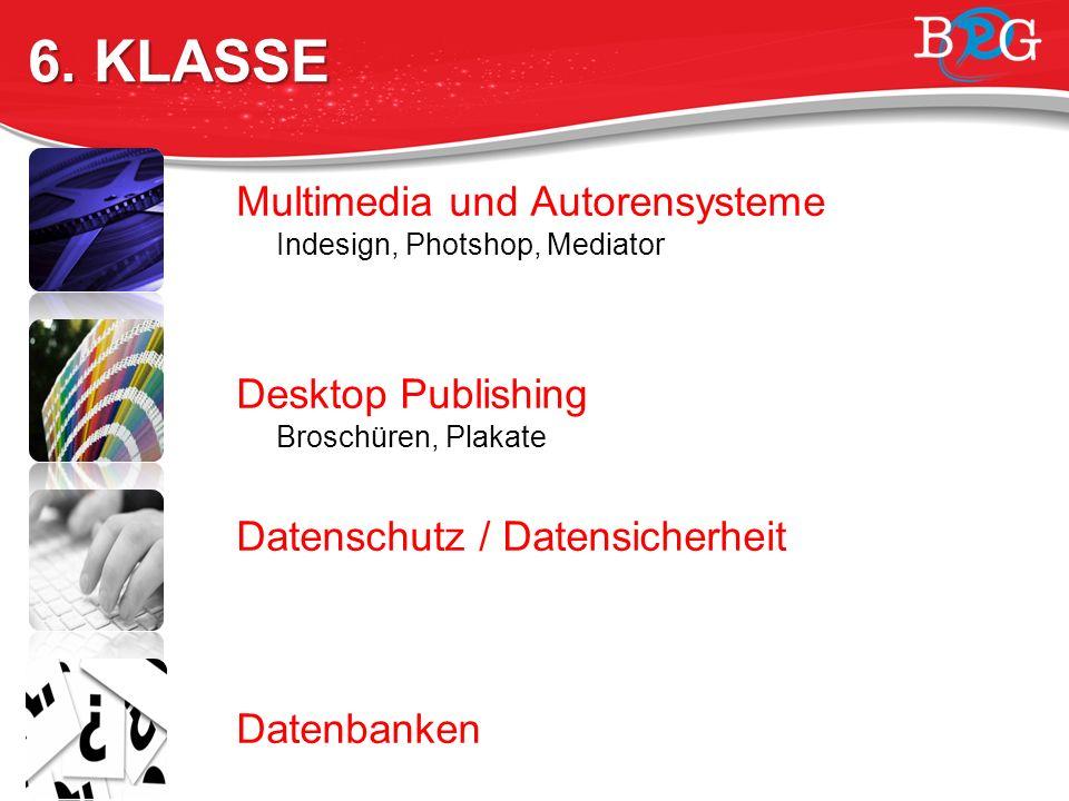 Multimedia und Autorensysteme Indesign, Photshop, Mediator Desktop Publishing Broschüren, Plakate Datenschutz / Datensicherheit Datenbanken theoretische Grundlage, praktische Planung 6.