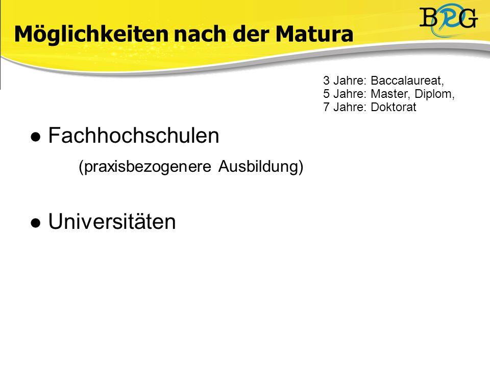 Fachhochschulen (praxisbezogenere Ausbildung) Universitäten Möglichkeiten nach der Matura 3 Jahre: Baccalaureat, 5 Jahre: Master, Diplom, 7 Jahre: Doktorat )