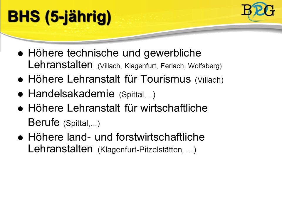 Höhere technische und gewerbliche Lehranstalten (Villach, Klagenfurt, Ferlach, Wolfsberg) Höhere Lehranstalt für Tourismus (Villach) Handelsakademie (Spittal,...) Höhere Lehranstalt für wirtschaftliche Berufe (Spittal,...) Höhere land- und forstwirtschaftliche Lehranstalten (Klagenfurt-Pitzelstätten, …) BHS (5-jährig)