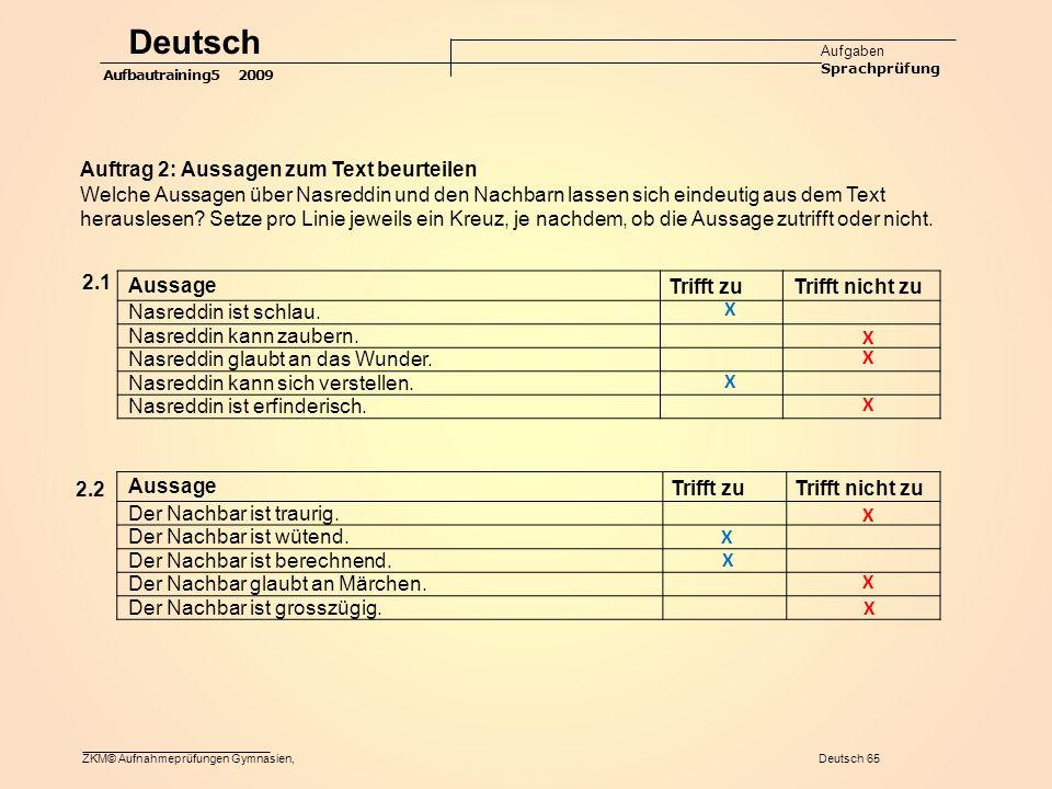 ZKM© Aufnahmeprüfungen Gymnasien, Deutsch 65 Aussage Trifft zu Trifft nicht zu Nasreddin ist schlau.