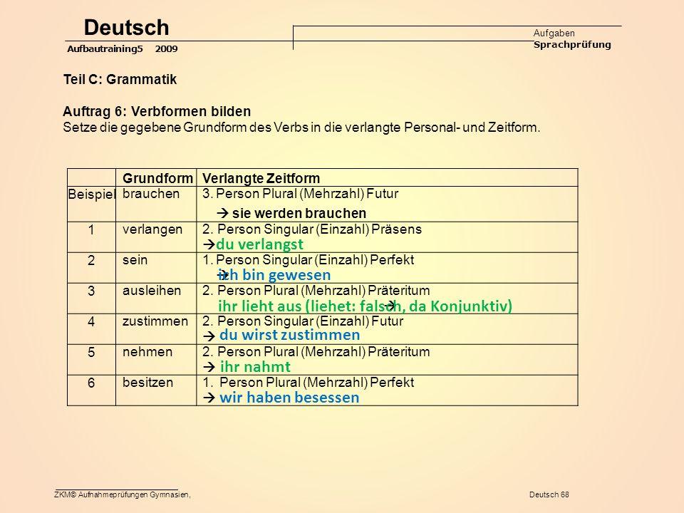 ZKM© Aufnahmeprüfungen Gymnasien, Deutsch 68 GrundformVerlangte Zeitform Beispiel brauchen3.Person Plural (Mehrzahl) Futur  sie werden brauchen 1 verlangen2.