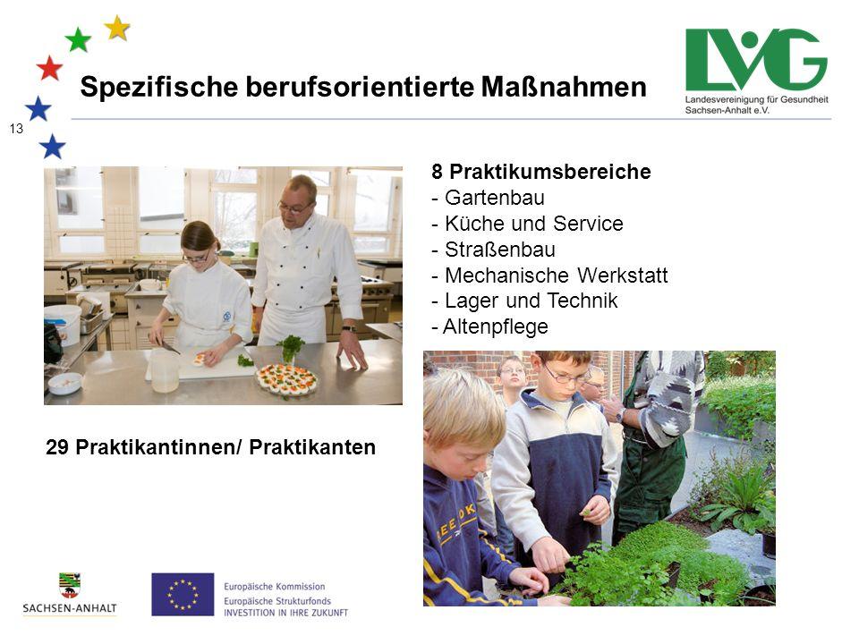 13 Spezifische berufsorientierte Maßnahmen 29 Praktikantinnen/ Praktikanten 8 Praktikumsbereiche - Gartenbau - Küche und Service - Straßenbau - Mechanische Werkstatt - Lager und Technik - Altenpflege