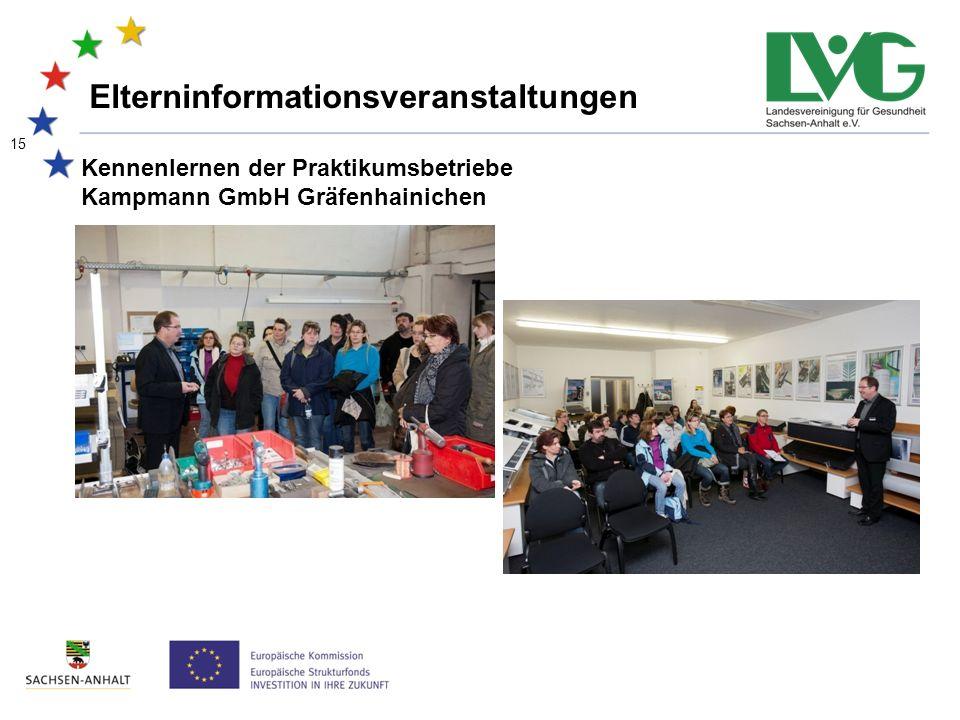 15 Kennenlernen der Praktikumsbetriebe Kampmann GmbH Gräfenhainichen Elterninformationsveranstaltungen