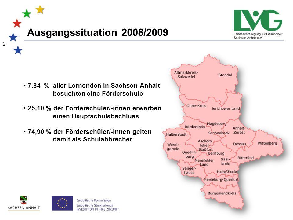 Ausgangssituation 2008/2009 7,84 % aller Lernenden in Sachsen-Anhalt besuchten eine Förderschule 25,10 % der Förderschüler/-innen erwarben einen Hauptschulabschluss 74,90 % der Förderschüler/-innen gelten damit als Schulabbrecher 2