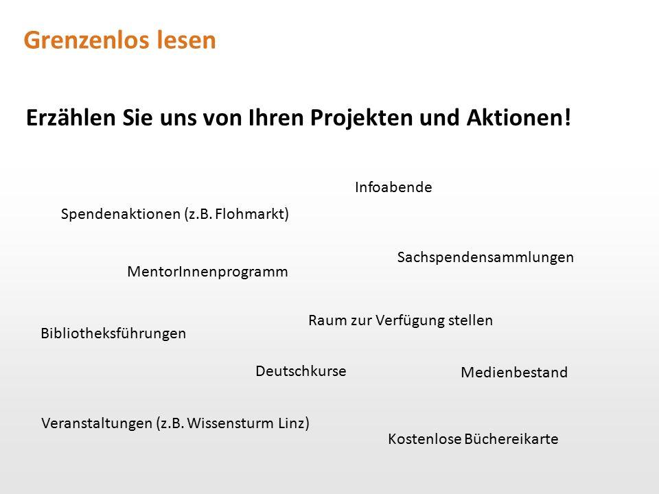 Grenzenlos lesen Erzählen Sie uns von Ihren Projekten und Aktionen! Sachspendensammlungen Spendenaktionen (z.B. Flohmarkt) Deutschkurse Infoabende Men