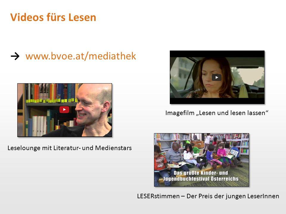 """Videos fürs Lesen → www.bvoe.at/mediathek Leselounge mit Literatur- und Medienstars Imagefilm """"Lesen und lesen lassen"""" LESERstimmen – Der Preis der ju"""