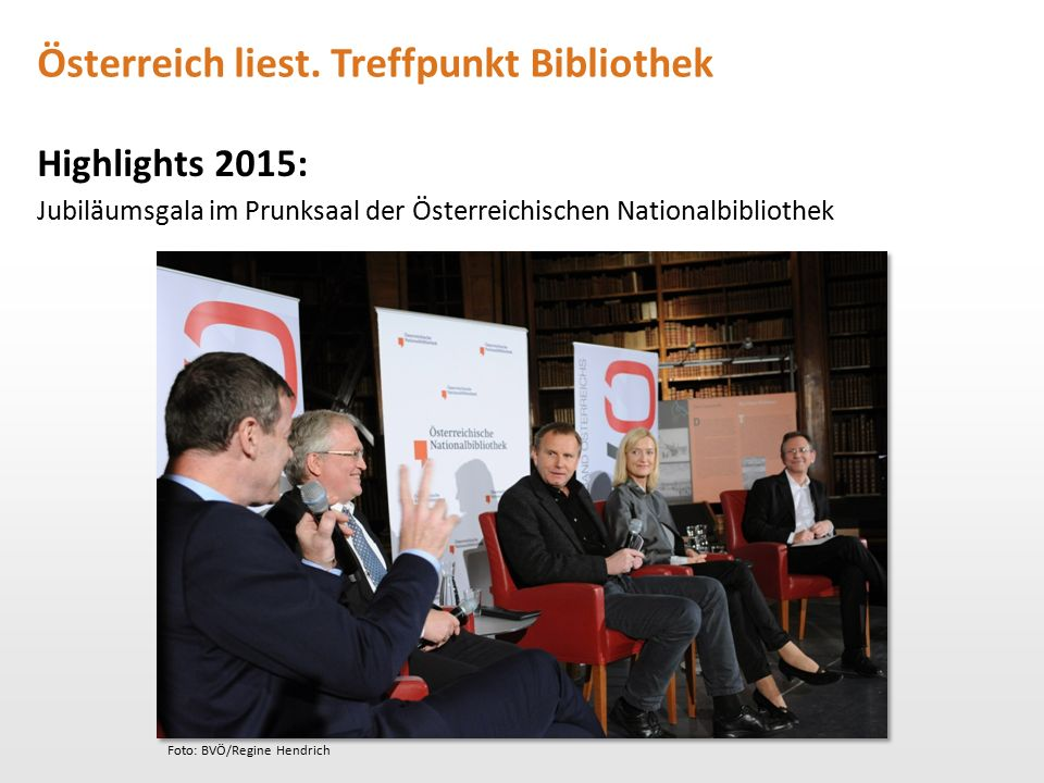 Österreich liest. Treffpunkt Bibliothek Highlights 2015: Jubiläumsgala im Prunksaal der Österreichischen Nationalbibliothek Foto: BVÖ/Regine Hendrich