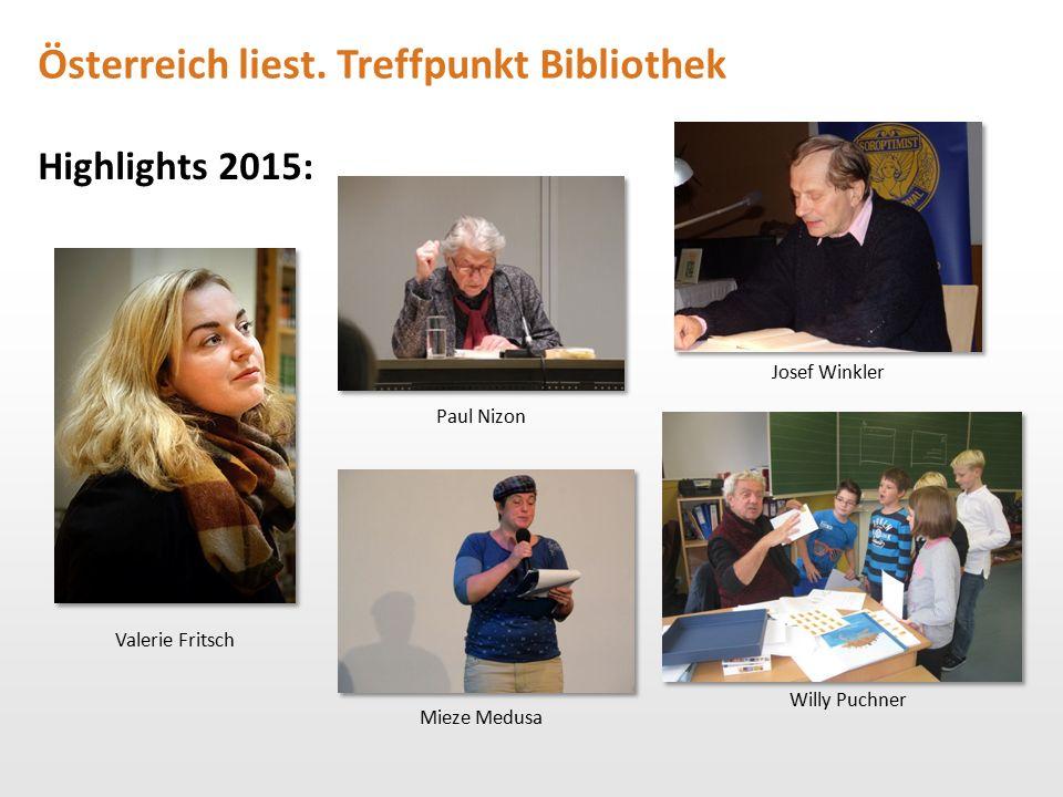 Österreich liest. Treffpunkt Bibliothek Highlights 2015: Valerie Fritsch Paul Nizon Willy Puchner Mieze Medusa Josef Winkler