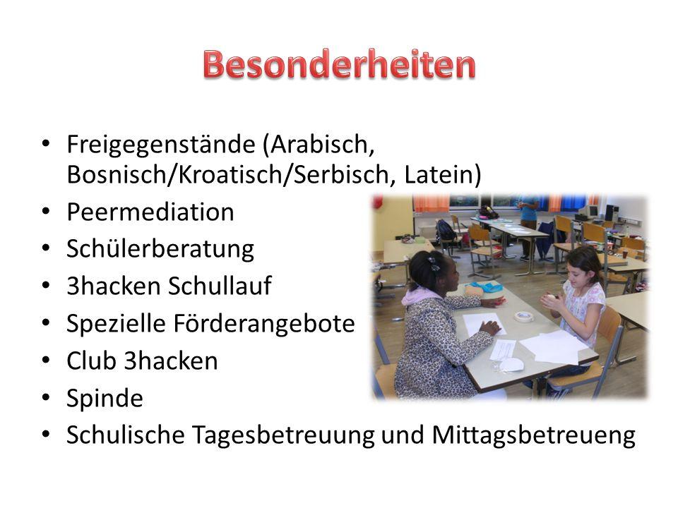 Freigegenstände (Arabisch, Bosnisch/Kroatisch/Serbisch, Latein) Peermediation Schülerberatung 3hacken Schullauf Spezielle Förderangebote Club 3hacken