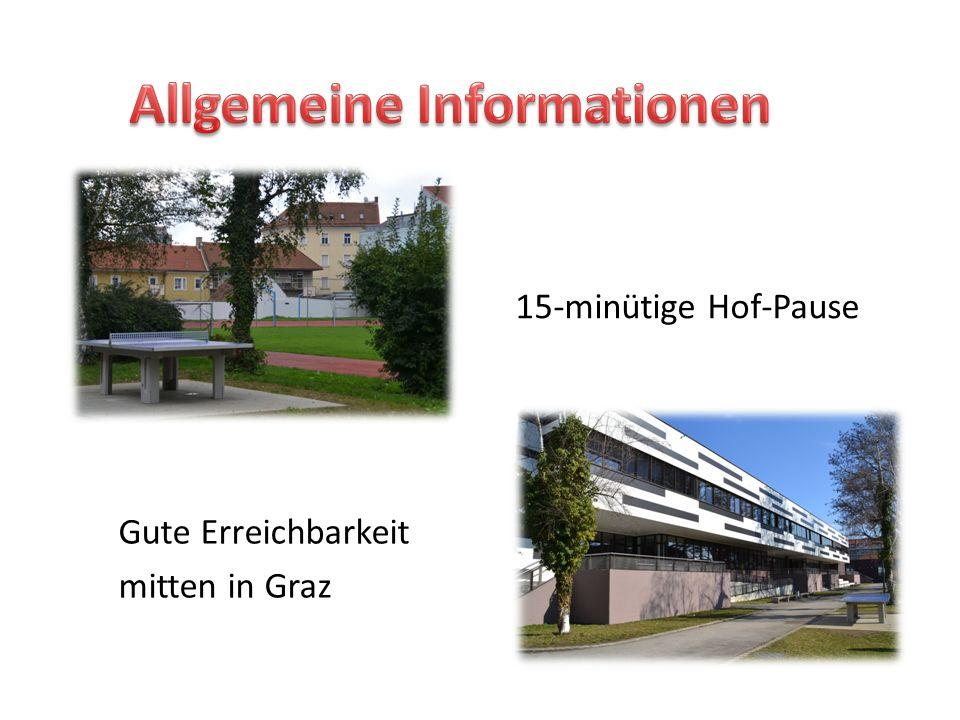 Gute Erreichbarkeit mitten in Graz 15-minütige Hof-Pause