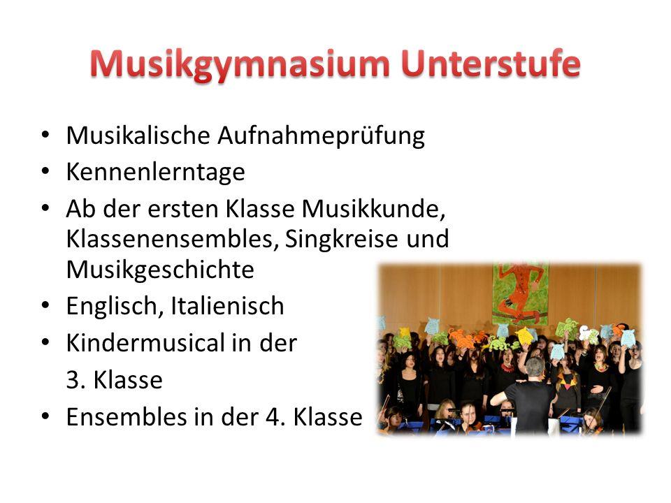 Musikalische Aufnahmeprüfung Kennenlerntage Ab der ersten Klasse Musikkunde, Klassenensembles, Singkreise und Musikgeschichte Englisch, Italienisch Ki