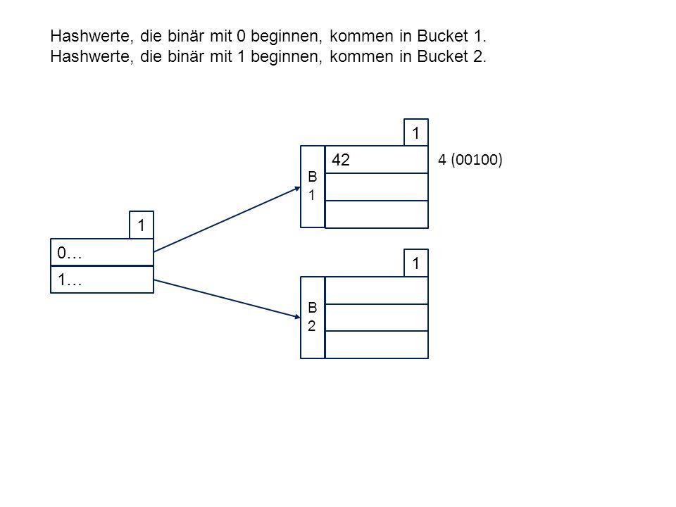 0… 1 1… 42 1 B1B1 1 B2B2 Hashwerte, die binär mit 0 beginnen, kommen in Bucket 1.