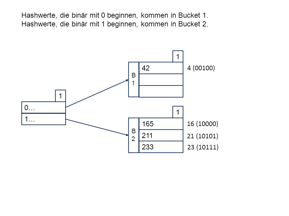 0… 1 1… 42 1 B1B1 165 1 211 233 B2B2 Hashwerte, die binär mit 0 beginnen, kommen in Bucket 1.