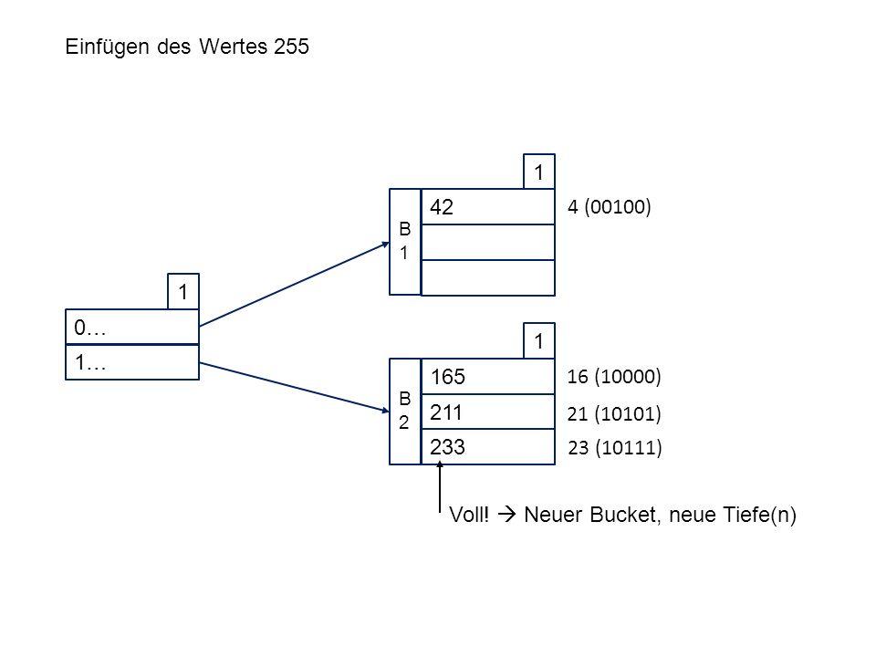0… 1 1… 42 1 B1B1 165 1 211 233 B2B2 Einfügen des Wertes 255 4 (00100) 16 (10000) 21 (10101) 23 (10111) Voll.