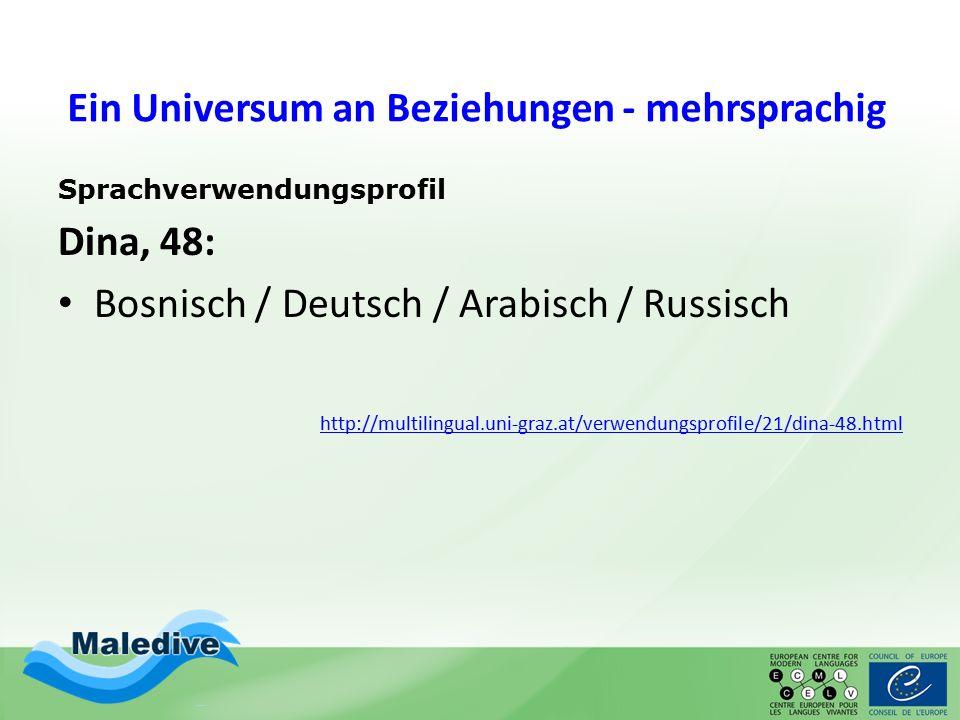 Ein Universum an Beziehungen - mehrsprachig Sprachverwendungsprofil Dina, 48: Bosnisch / Deutsch / Arabisch / Russisch http://multilingual.uni-graz.at