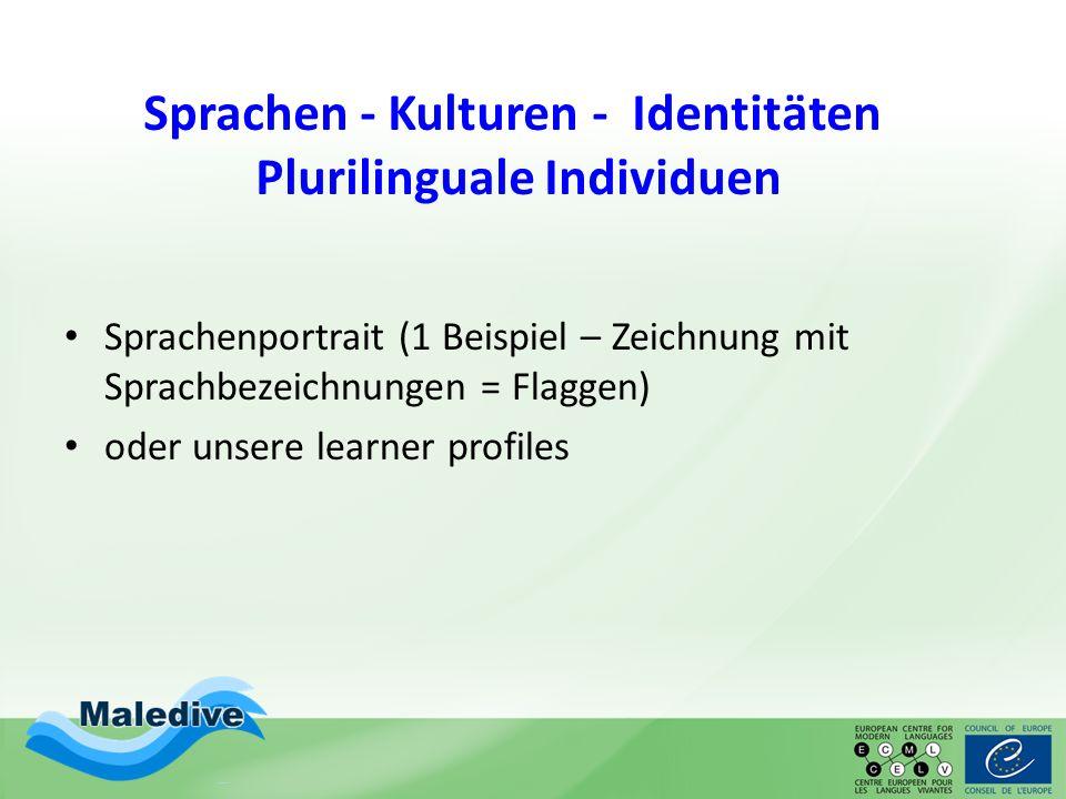 Sprachen - Kulturen - Identitäten Plurilinguale Individuen Sprachenportrait (1 Beispiel – Zeichnung mit Sprachbezeichnungen = Flaggen) oder unsere lea