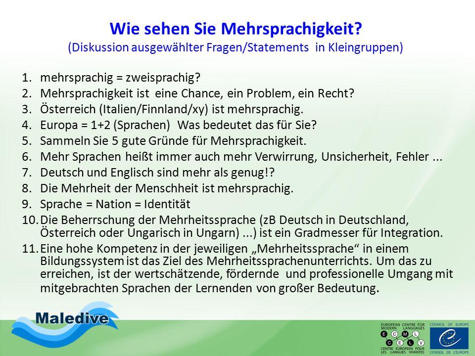Wie sehen Sie Mehrsprachigkeit? (Diskussion ausgewählter Fragen/Statements in Kleingruppen) 1.mehrsprachig = zweisprachig? 2.Mehrsprachigkeit ist eine