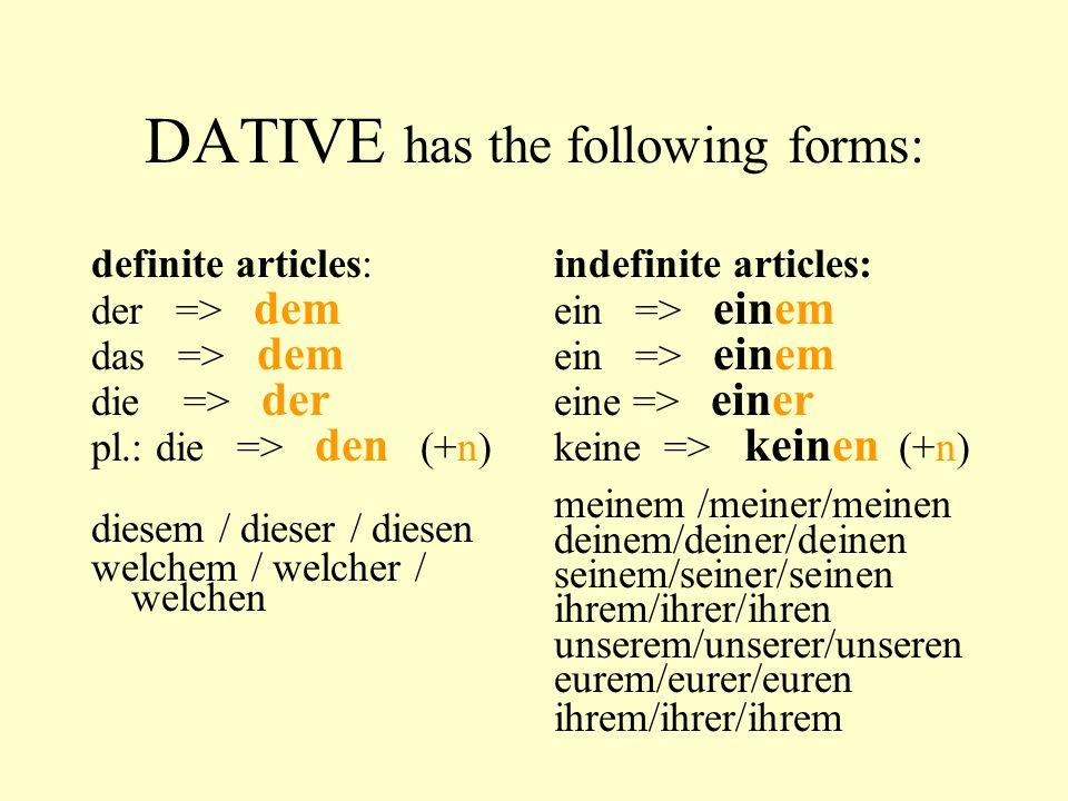 DATIVE has the following forms: definite articles: der => dem das => dem die => der pl.: die => den (+n) diesem / dieser / diesen welchem / welcher / welchen indefinite articles: ein => einem eine => einer keine => keinen (+n) meinem /meiner/meinen deinem/deiner/deinen seinem/seiner/seinen ihrem/ihrer/ihren unserem/unserer/unseren eurem/eurer/euren ihrem/ihrer/ihrem