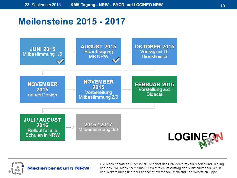 10 28. September 2015 Die Medienberatung NRW ist ein Angebot des LVR-Zentrums für Medien und Bildung und des LWL-Medienzentrums für Westfalen im Auftr