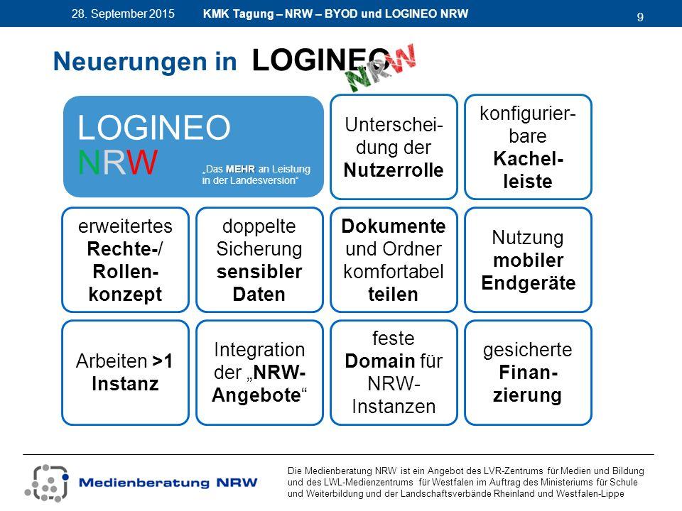 9 28. September 2015 Die Medienberatung NRW ist ein Angebot des LVR-Zentrums für Medien und Bildung und des LWL-Medienzentrums für Westfalen im Auftra