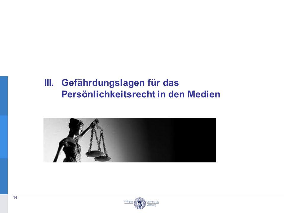 III. Gefährdungslagen für das Persönlichkeitsrecht in den Medien 14