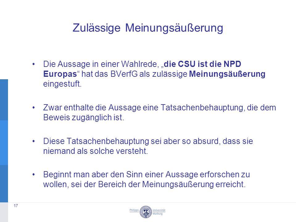 """Zulässige Meinungsäußerung Die Aussage in einer Wahlrede, """"die CSU ist die NPD Europas hat das BVerfG als zulässige Meinungsäußerung eingestuft."""