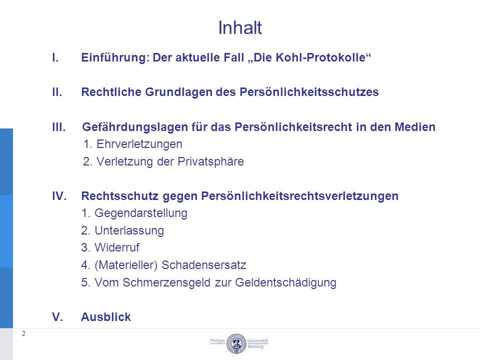 """Inhalt I.Einführung: Der aktuelle Fall """"Die Kohl-Protokolle II.Rechtliche Grundlagen des Persönlichkeitsschutzes III."""