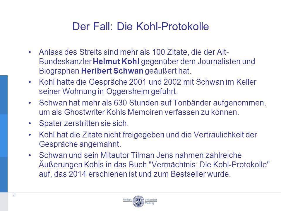 Anlass des Streits sind mehr als 100 Zitate, die der Alt- Bundeskanzler Helmut Kohl gegenüber dem Journalisten und Biographen Heribert Schwan geäußert hat.