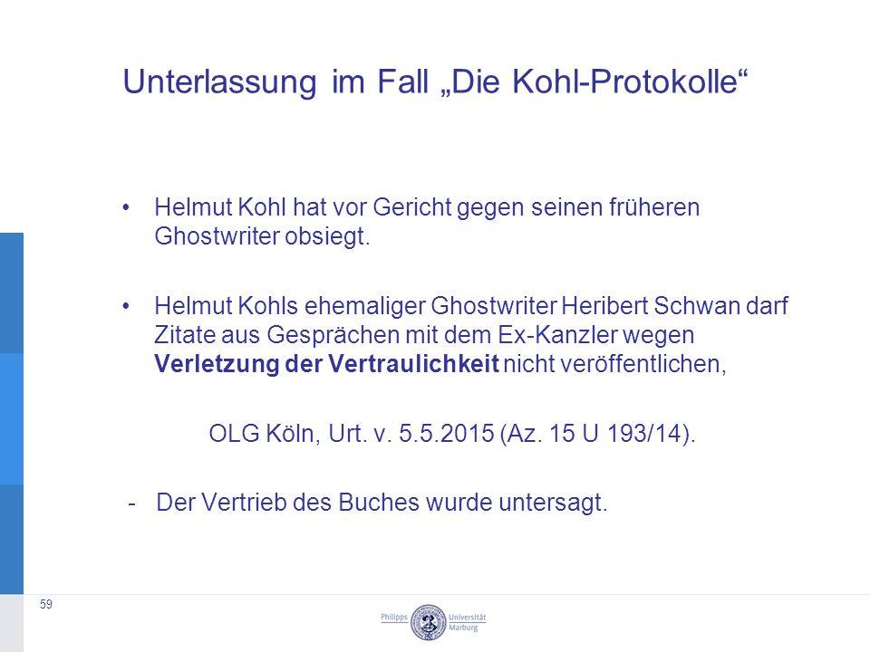 """Unterlassung im Fall """"Die Kohl-Protokolle Helmut Kohl hat vor Gericht gegen seinen früheren Ghostwriter obsiegt."""