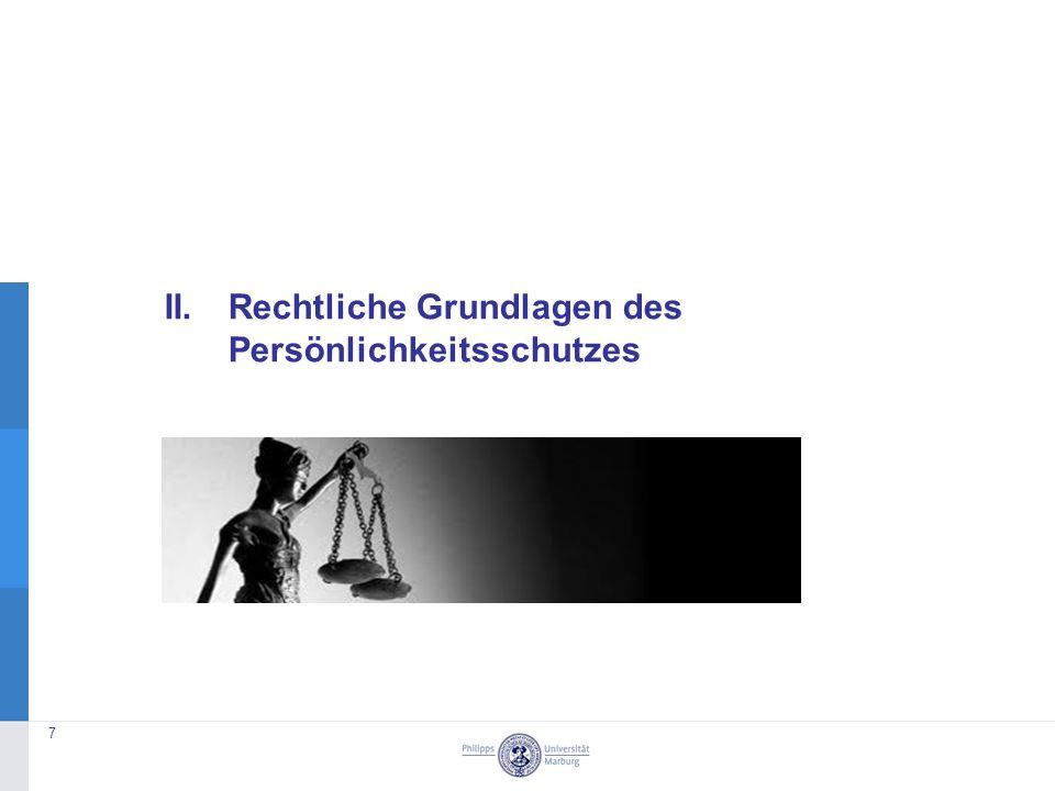 II. Rechtliche Grundlagen des Persönlichkeitsschutzes 7