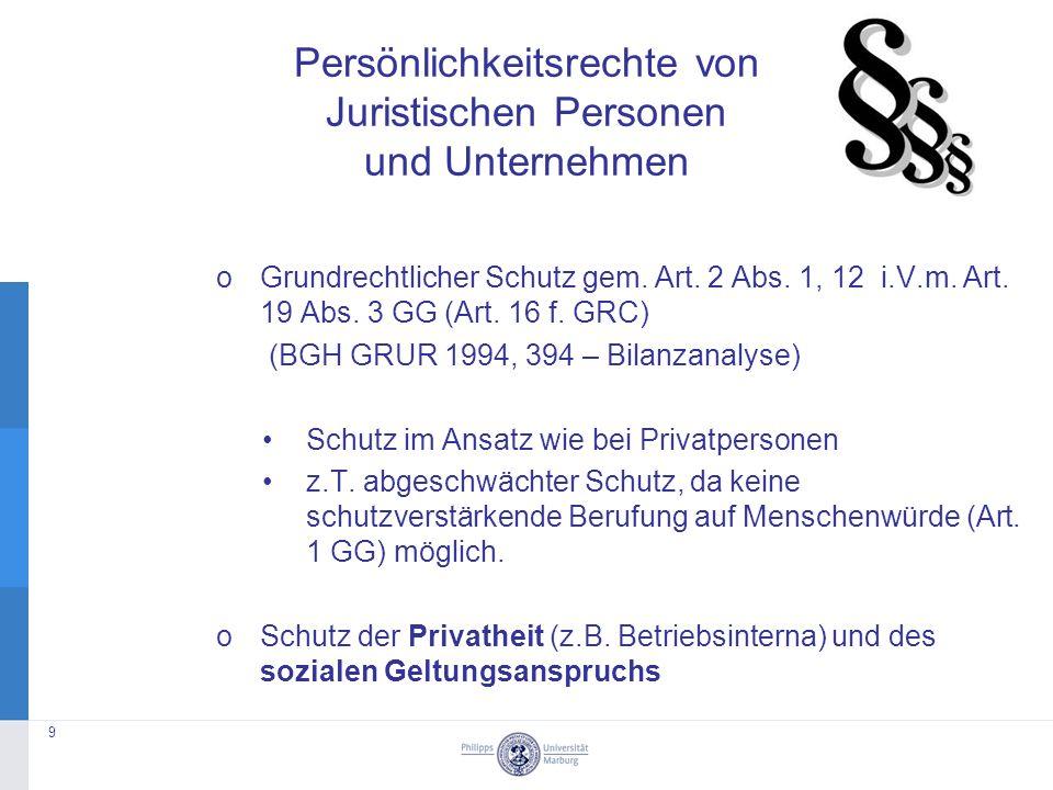 oGrundrechtlicher Schutz gem. Art. 2 Abs. 1, 12 i.V.m.