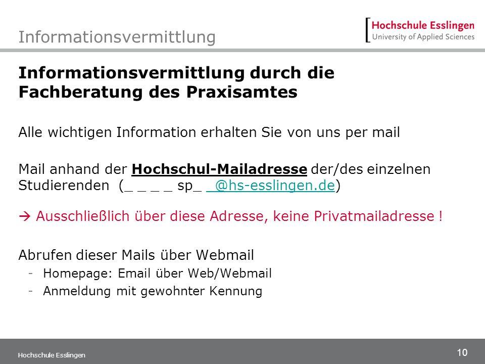 10 Hochschule Esslingen Informationsvermittlung Informationsvermittlung durch die Fachberatung des Praxisamtes Alle wichtigen Information erhalten Sie