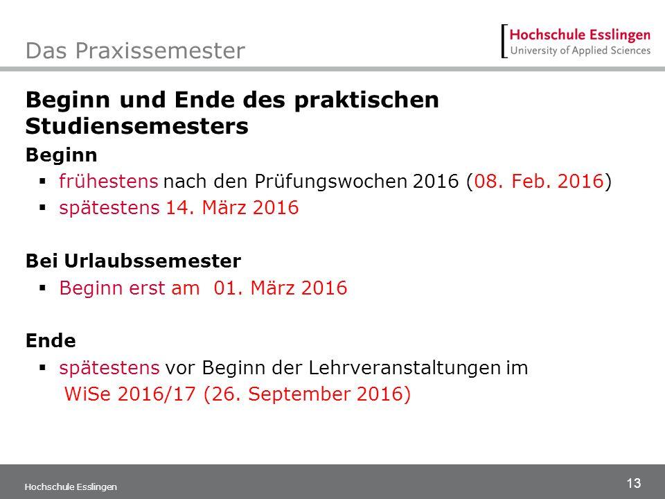13 Hochschule Esslingen Das Praxissemester Beginn und Ende des praktischen Studiensemesters Beginn  frühestens nach den Prüfungswochen 2016 (08. Feb.