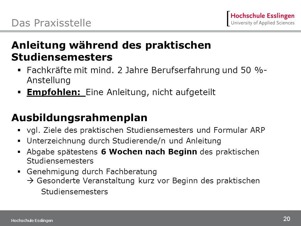 20 Hochschule Esslingen Das Praxisstelle Anleitung während des praktischen Studiensemesters  Fachkräfte mit mind. 2 Jahre Berufserfahrung und 50 %- A