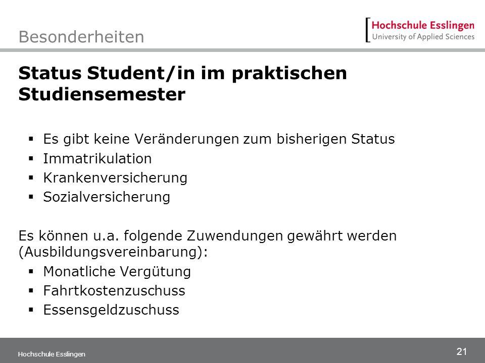 21 Hochschule Esslingen Besonderheiten Status Student/in im praktischen Studiensemester  Es gibt keine Veränderungen zum bisherigen Status  Immatrik