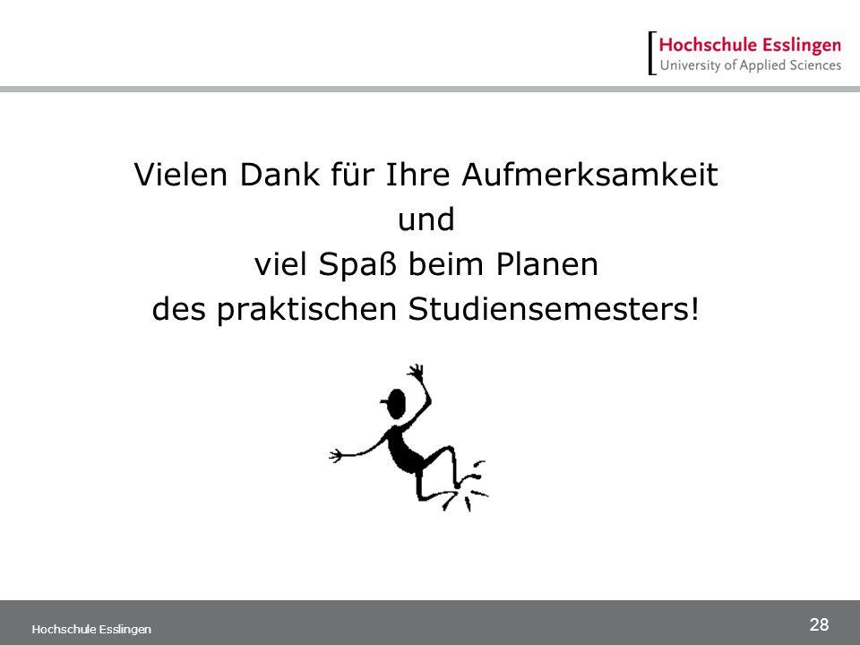 28 Hochschule Esslingen Vielen Dank für Ihre Aufmerksamkeit und viel Spaß beim Planen des praktischen Studiensemesters!