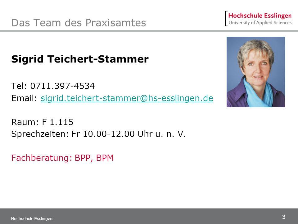 3 Hochschule Esslingen Das Team des Praxisamtes Sigrid Teichert-Stammer Tel: 0711.397-4534 Email: sigrid.teichert-stammer@hs-esslingen.desigrid.teiche