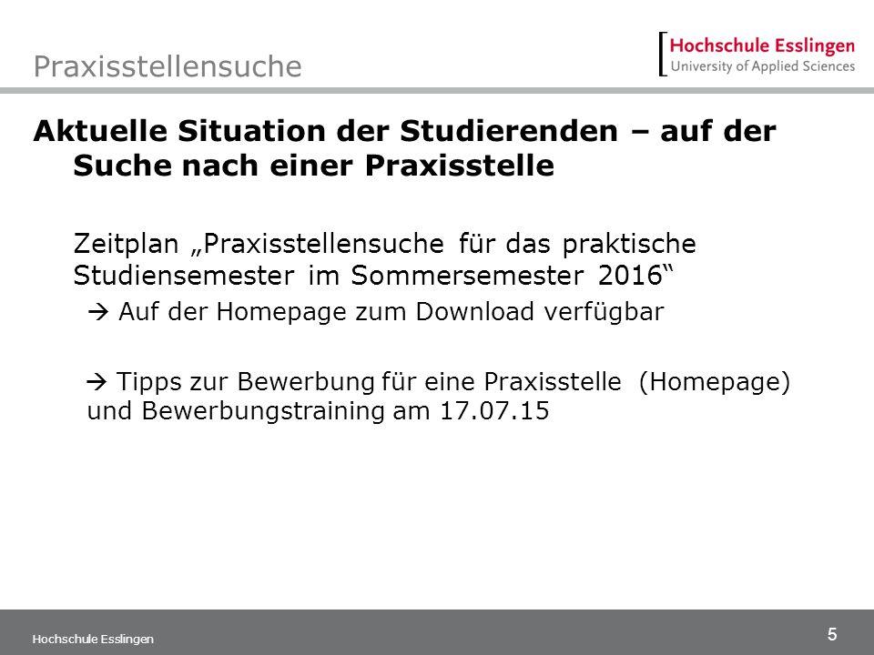 """5 Hochschule Esslingen Praxisstellensuche Aktuelle Situation der Studierenden – auf der Suche nach einer Praxisstelle Zeitplan """"Praxisstellensuche für"""