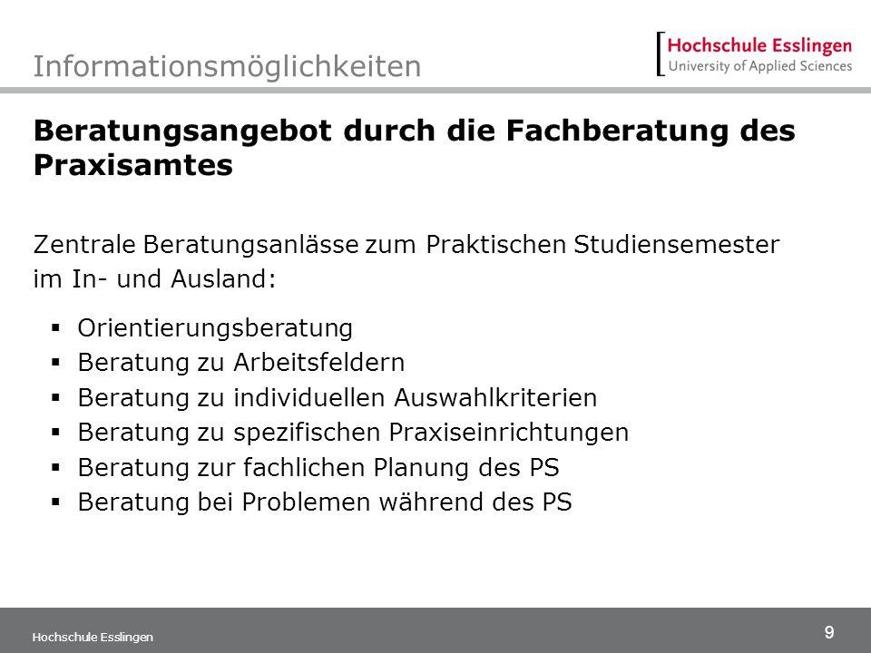 9 Hochschule Esslingen Informationsmöglichkeiten Beratungsangebot durch die Fachberatung des Praxisamtes Zentrale Beratungsanlässe zum Praktischen Stu