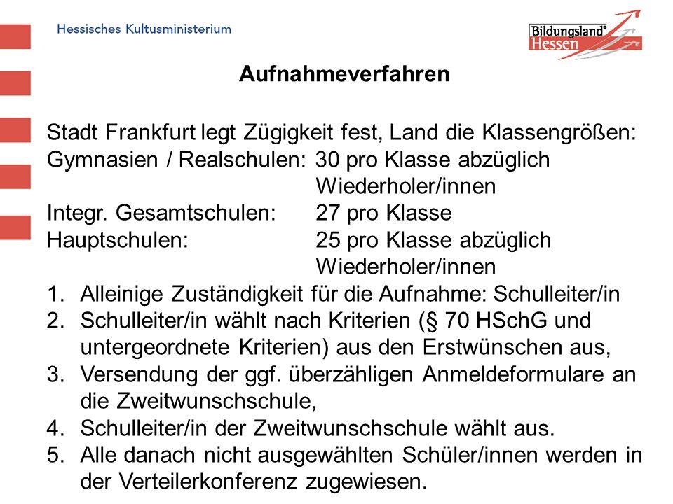 Aufnahmeverfahren Stadt Frankfurt legt Zügigkeit fest, Land die Klassengrößen: Gymnasien / Realschulen: 30 pro Klasse abzüglich Wiederholer/innen Inte